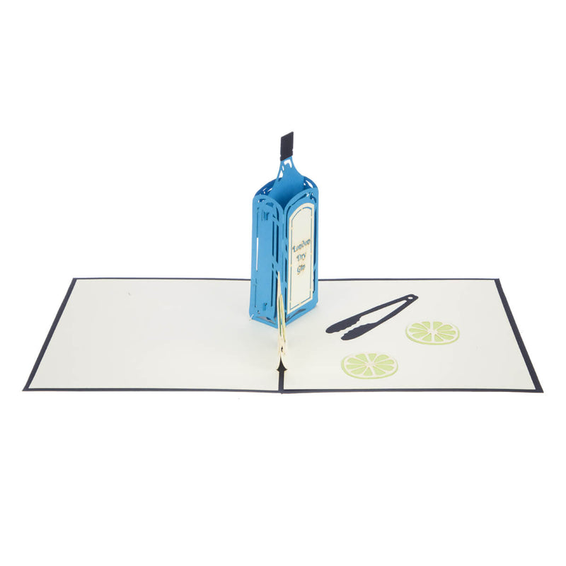Gin Pop Up Card featuring a blue 3D Gin bottle and a 2D glass filled with lime wedges, fully opened