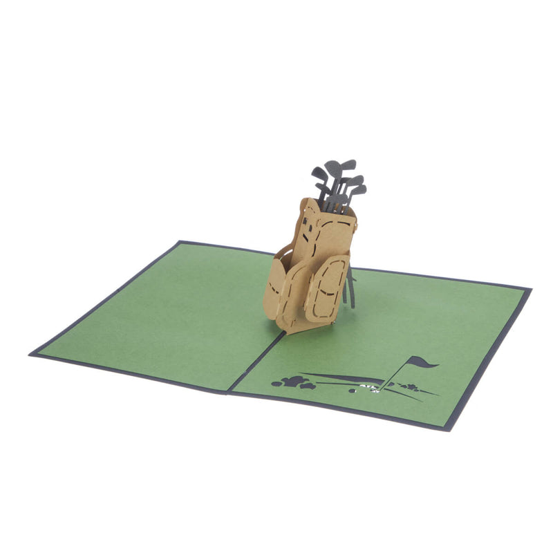 Golf Pop Up Card featuring a 3D brown golf bag full with gold clubs, fully open at 180 degrees