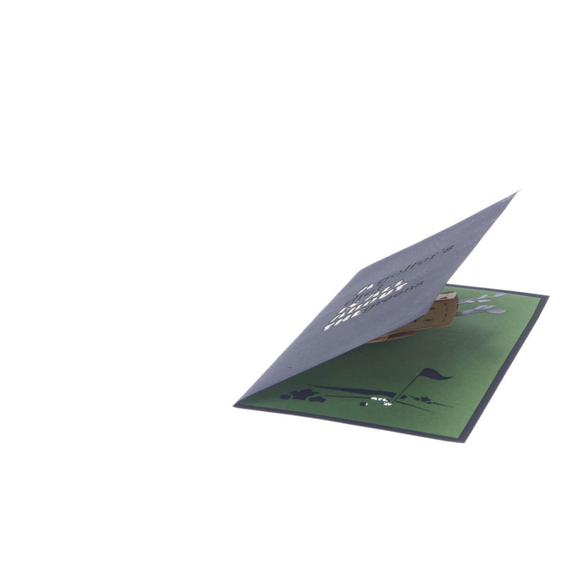 Golf Pop Up Card featuring a 3D brown golf bag full with gold clubs, slightly open at 45 degrees