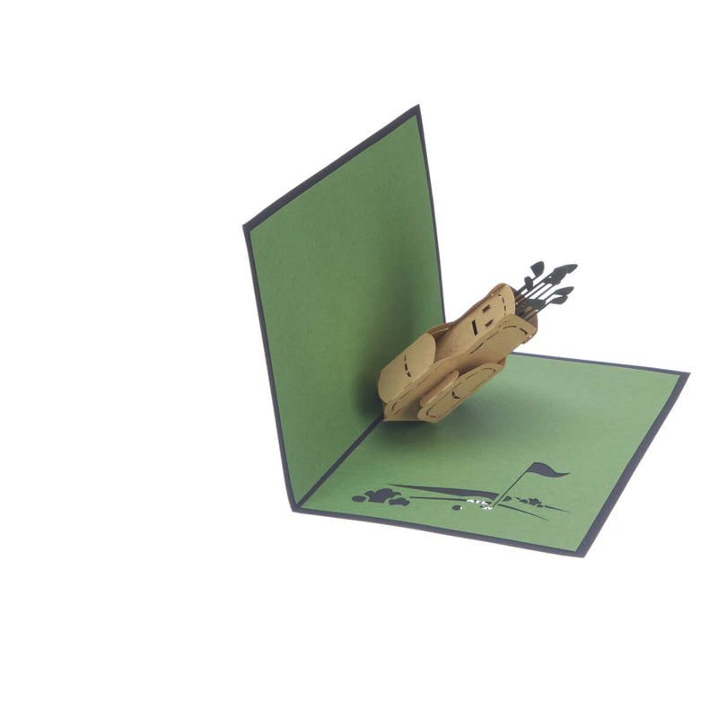 Golf Pop Up Card featuring a 3D brown golf bag full with gold clubs, half open at 90 degrees