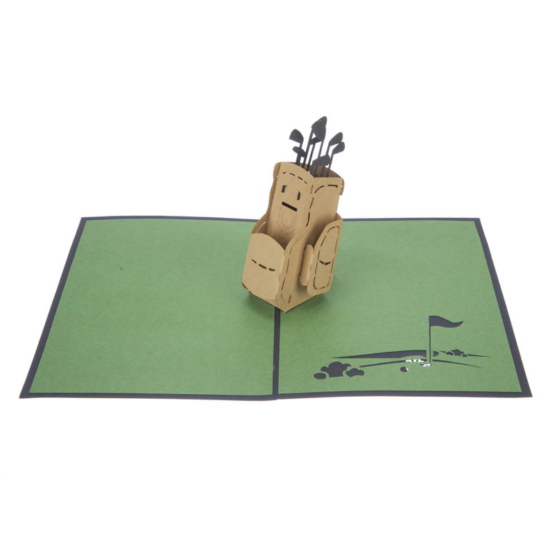 Golf Pop Up Card featuring a 3D brown golf bag full with gold clubs, fully open