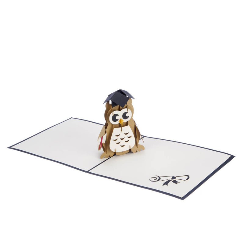 Pop Up Graduation Card featuring a 3D wise owl wearing a mortarboard and holding a degree certificate, fully open at 180 degrees