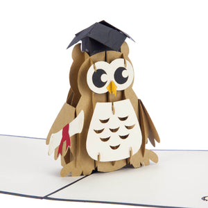 close up image of Graduation Owl Pop Up Card featuring a wise owl wearing a mortarboard and holding a degree certificate