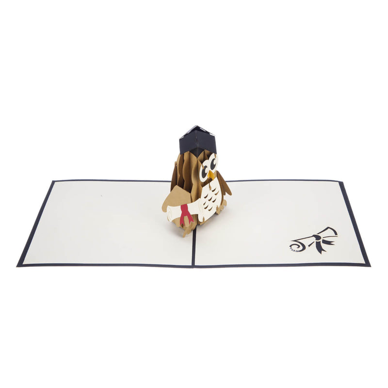 Graduation Owl Pop Up Card featuring a 3D owl wearing a mortarboard and holding a degree certificate, fully open