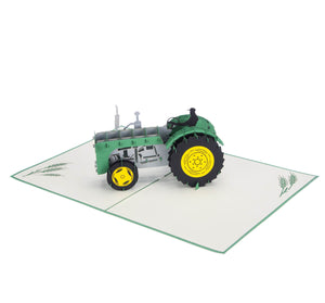 John Deere inspired 3D Green Vintage Pop Up Card, fully open at 180 degrees