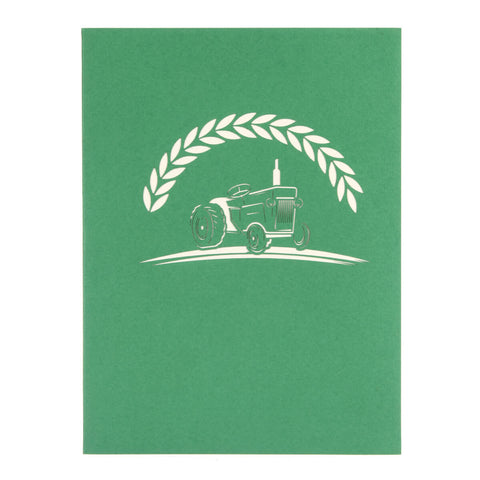 Green Vintage Tractor Pop Up Card