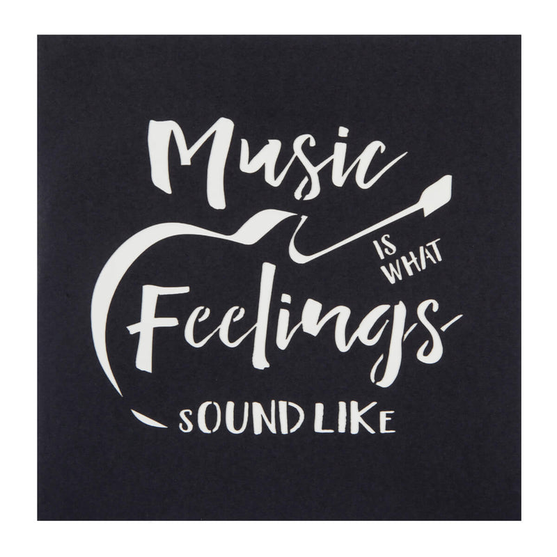 Guitar Pop Up Card Black Cover which reads 'Music is what feelings sound like'
