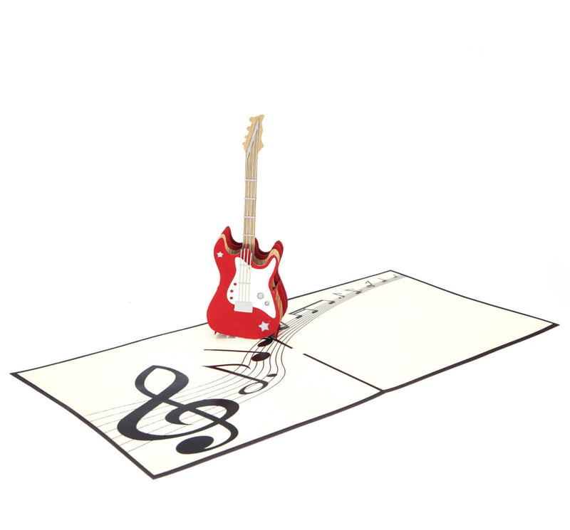 Guitar Pop Up Card open at 180 degrees