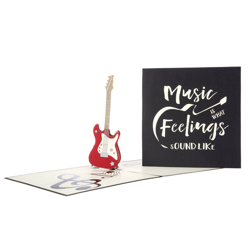 Close up image of Guitar Pop Up Card and black cover