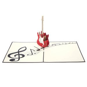 Guitar Pop Up Card open fully at 180 degrees