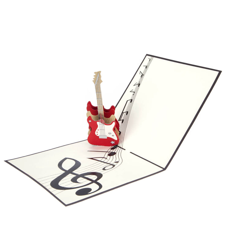 Guitar Pop Up Card open at 90 degrees