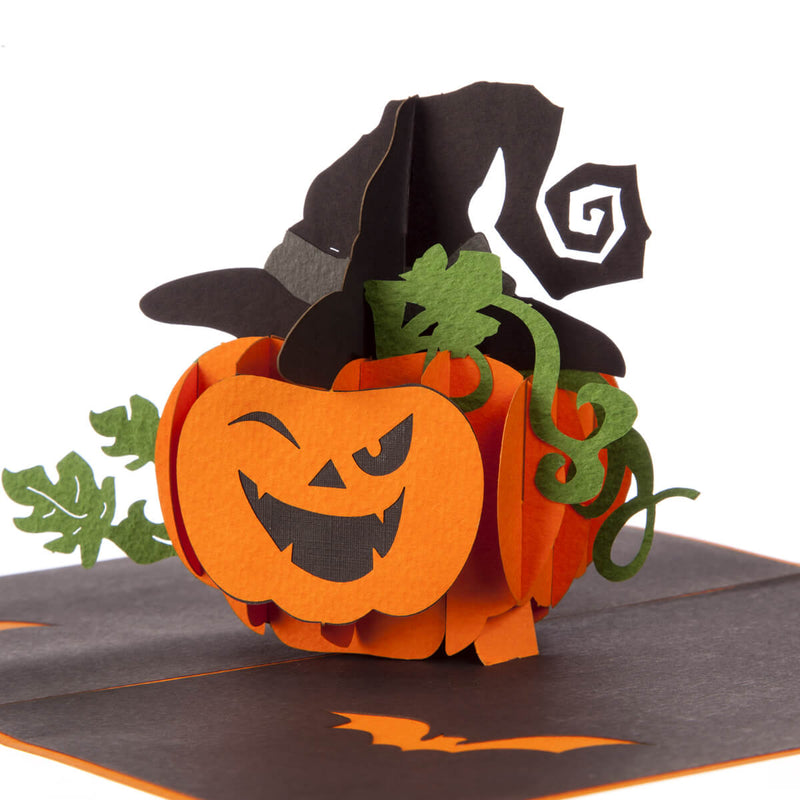 close up image of halloween pop up card featuring a spooky pumpkin wearing a witches hat