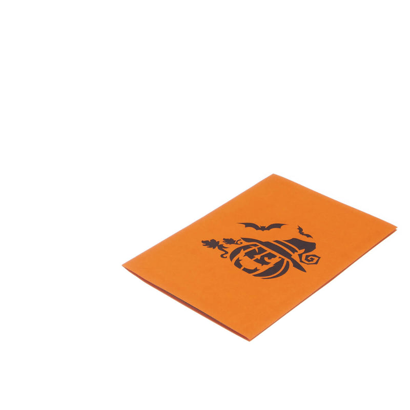 image of halloween pop up card fully closed and flat on a white background