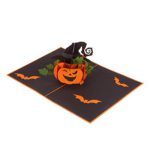 image of halloween pop up card fully open at 180 degrees on a white background