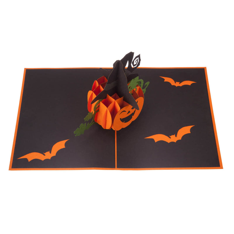 image of halloween pop up card fully open on a white background. Picture taken from above