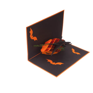 image of halloween pop up card half open at 90 degrees on a white background