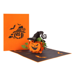 image of halloween pop up card fully open with orange cover behind on a white background