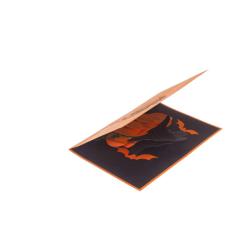 image of halloween pop up card slightly open at 45 degrees on a white background