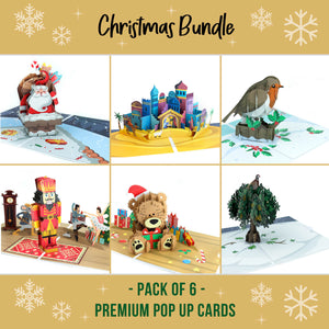 Handmade Christmas Card Pack of 6 - Holiday Cards Set of 6 - Christmas Pop Up Card Pack