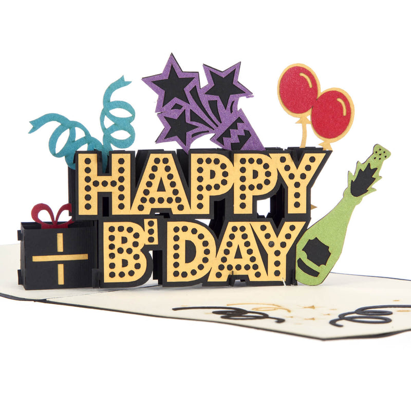Close up image of Happy Birthday Pop Up Card featuring a black and gold 3D