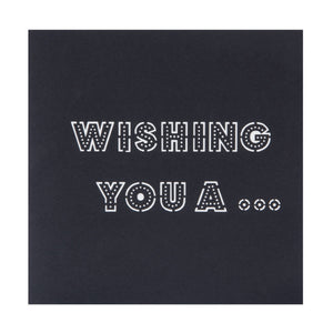 Close up image of Happy Birthday Pop Up Card black cover which reads