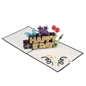 image of Happy Birthday Pop Up Card fully open at 180 degrees on a white background