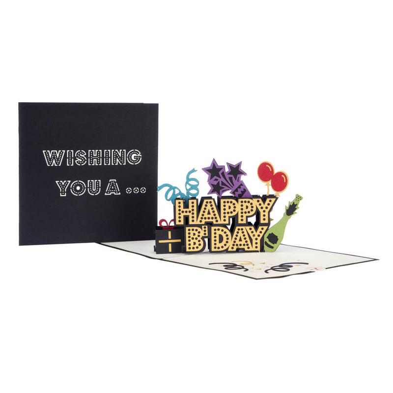 image of Happy Birthday Pop Up Card open with cover behind