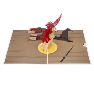 Image of Harry Potter Fawkes Pop Up Card fully Open on a white surface