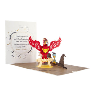 Image of Harry Potter Fawkes Pop Up Card Open with cover displayed behind