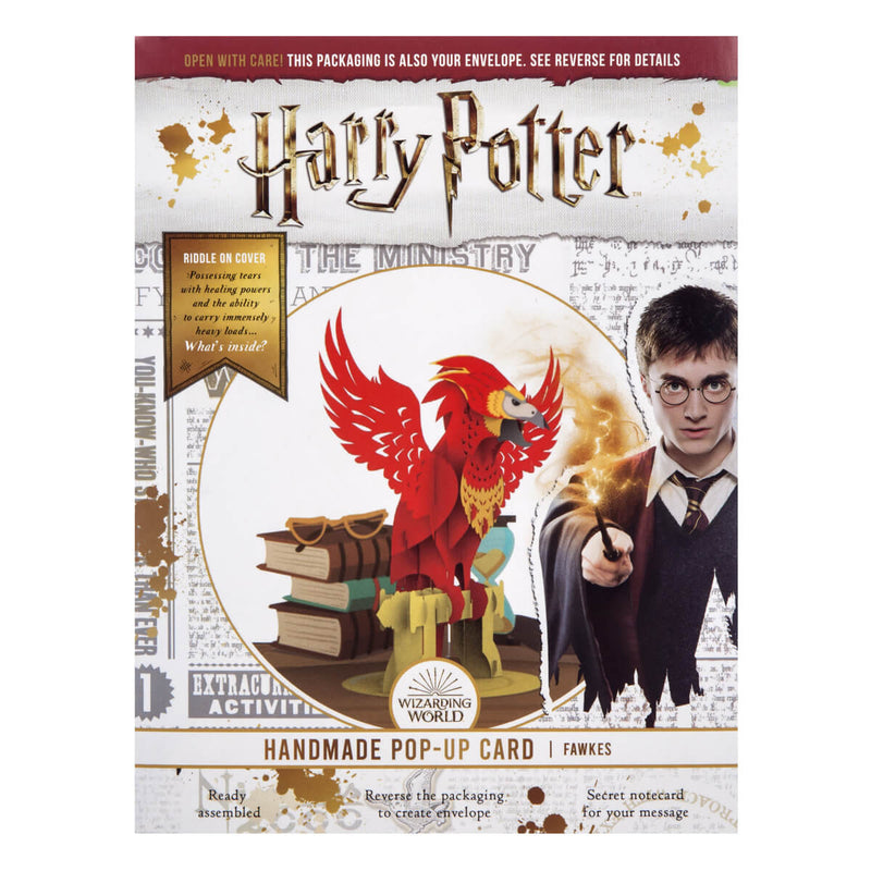 Image of Harry Potter Fawkes Pop Up Card official packaging