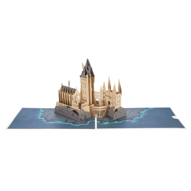 Hogwarts Castle Pop Up Card Open at 180 degrees