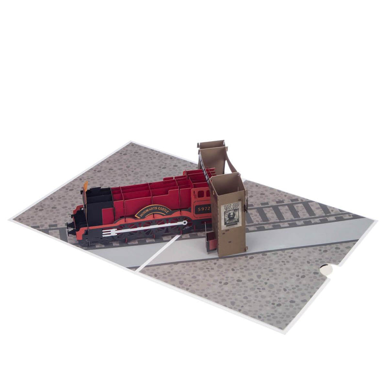 Harry Potter Hogwarts Express 3D Birthday Card fully open at 180 degrees