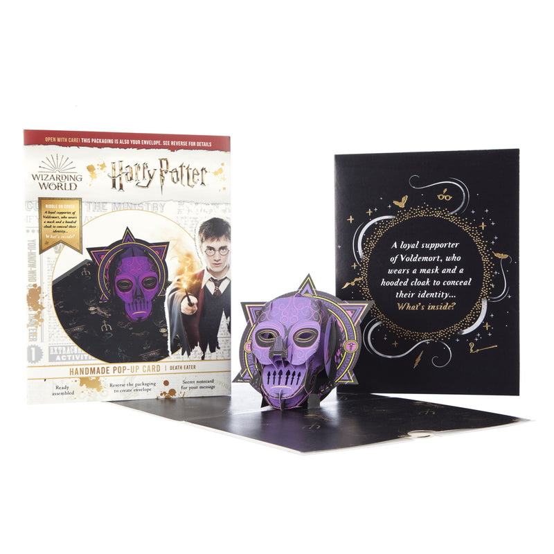 Harry Potter Death Eater Pop Up Card - Harry Potter Dark Arts - Card Open with Cover and Packaging