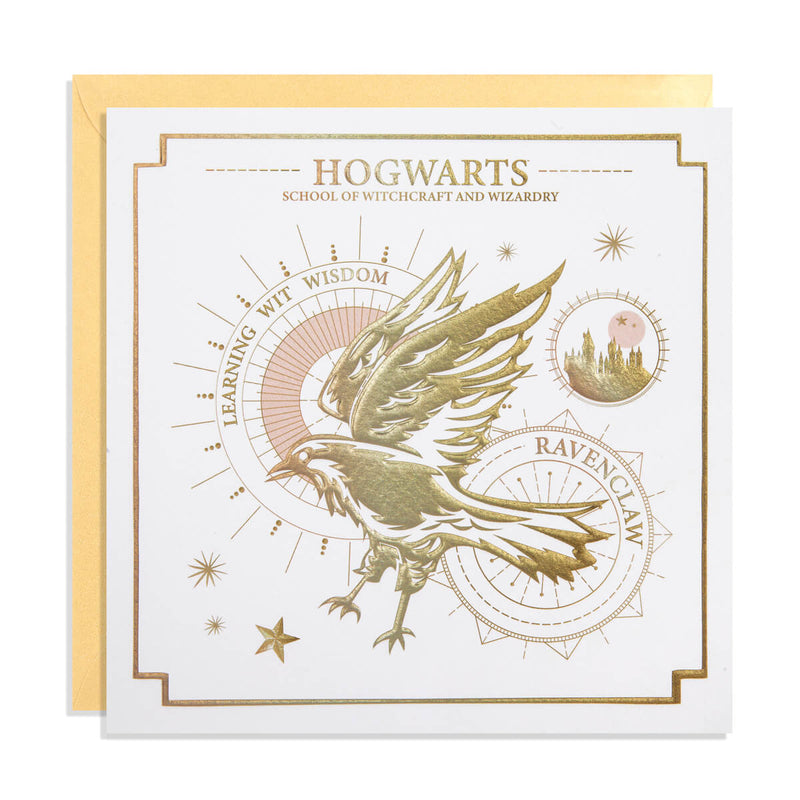 Harry Potter Ravenclaw Greetings Card - White Card with Gold Embossing -  photographed on a white background with gold envelope