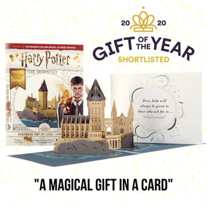 Image of Harry Potter Hogwarts Castle Pop Up Birthday Card open with cover behind