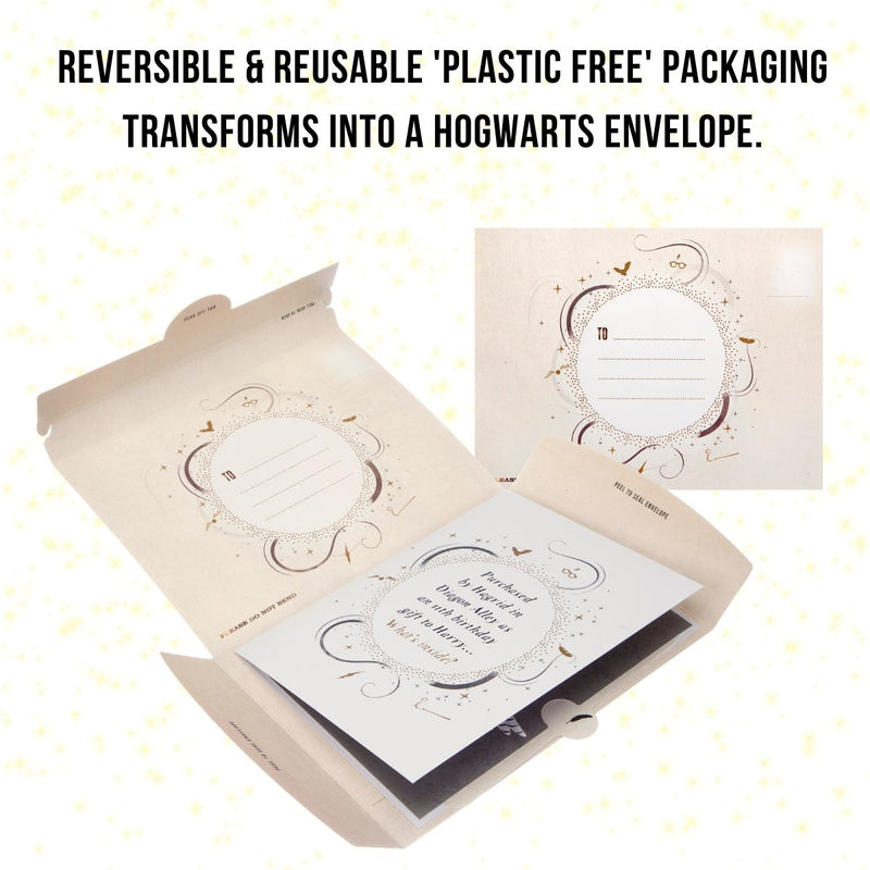 Reversible and reusable packaging for Hedwig Card which transforms into Hogwarts letter