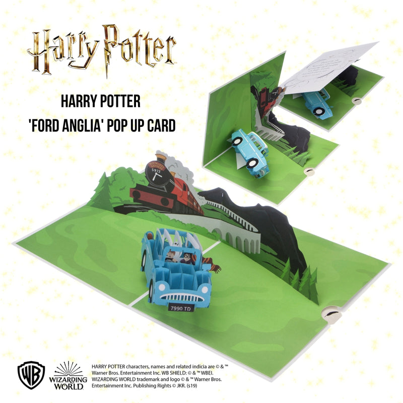 Image showing Harry Potter Flying Ford Anglia Pop Up Birthday Card open at 180 degrees and closing in stages