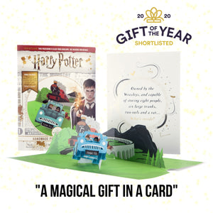 Image of Harry Potter 'Flying Ford Anglia' 3D Birthday Card with Cover and Packaging displayed behind