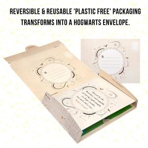 image of Harry Potter packaging reversing to become Hogwarts Envelope