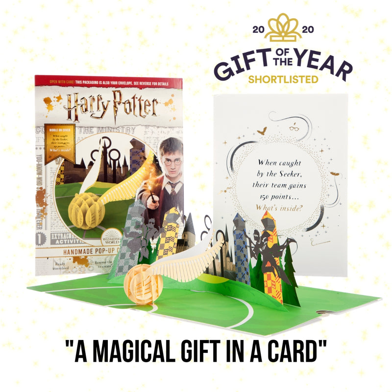 Harry Potter Golden Snitch Birthday 3D Card Open with Cover image behind