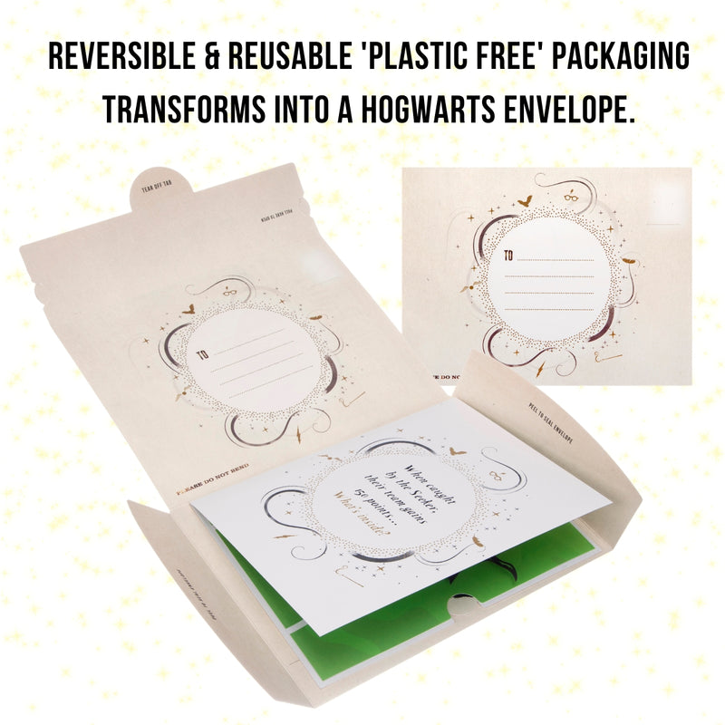 Image of Harry Potter Pop Up Card packaging reversing into a Hogwarts envelope