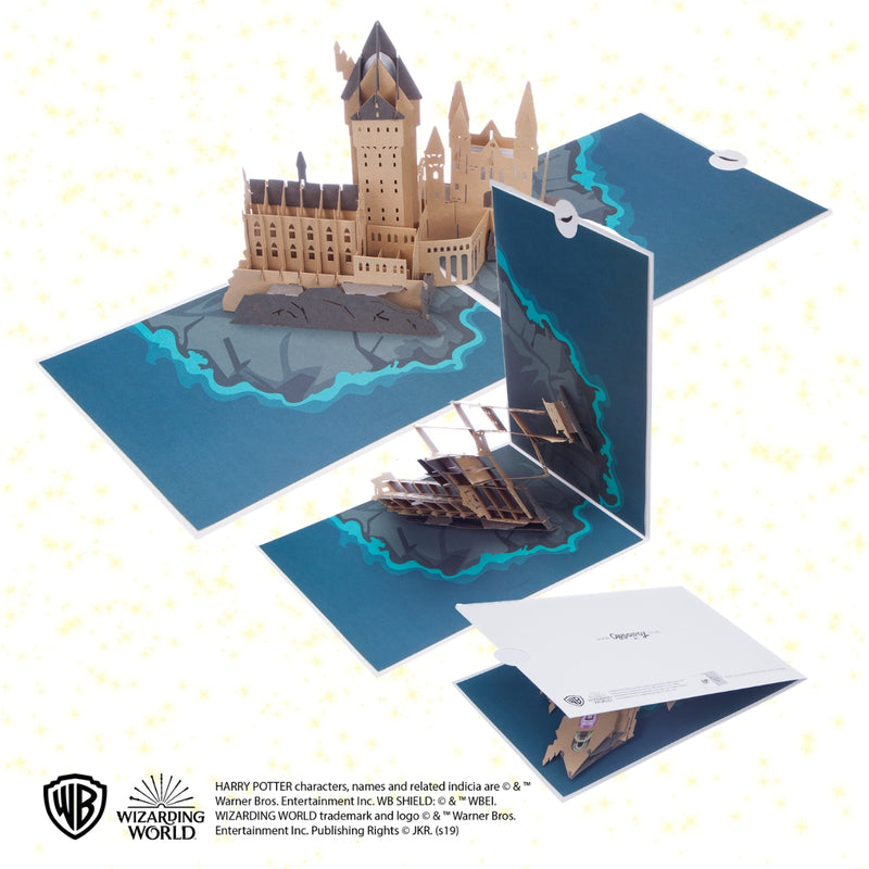 Image of Hogwarts Castle Birthday Pop Up Card open at 180 degrees and closing in stages