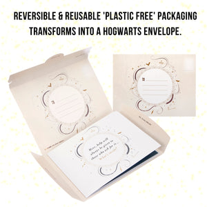 Image of reversible and reusable packaging which transforms into a Hogwarts Envelope