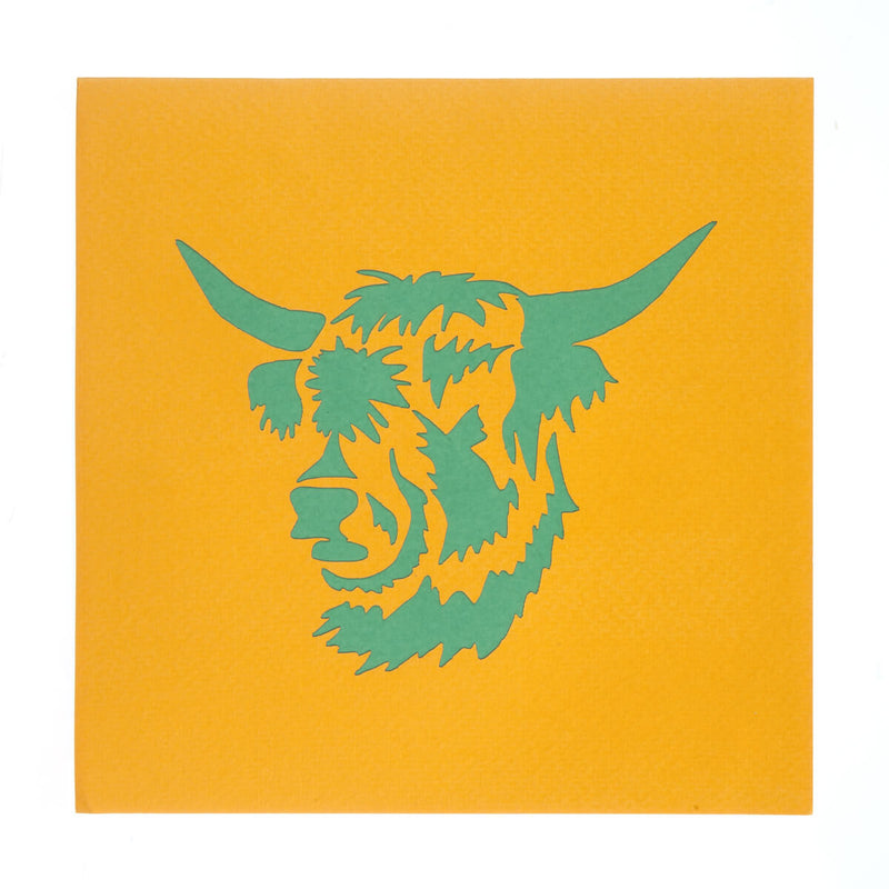 Highland Cow Pop Up Card cover featuring a laser cut green highland cow image on orange card