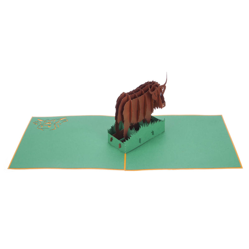Highland Cow Pop Up Card featuring a 3D bronze highland cow standing among green grass, fully open