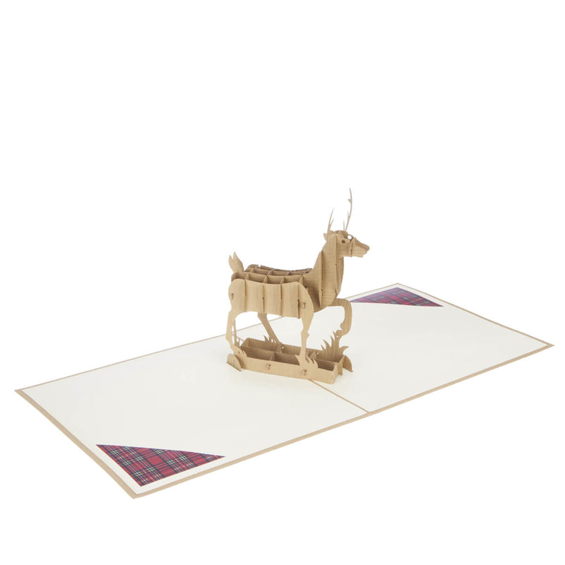 Highland Stag Pop Up Card, fully open at 180 degrees
