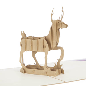 close up image of Highland Stag pop up card