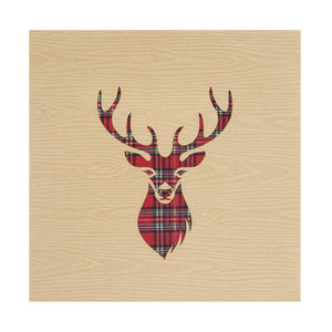 Highland Stag Pop Up Card cover featuring a stags head in red tartan in the middle of a light brown cover
