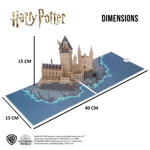Image of Hogwarts Castle Pop Up Card open and annotated with the dimensions