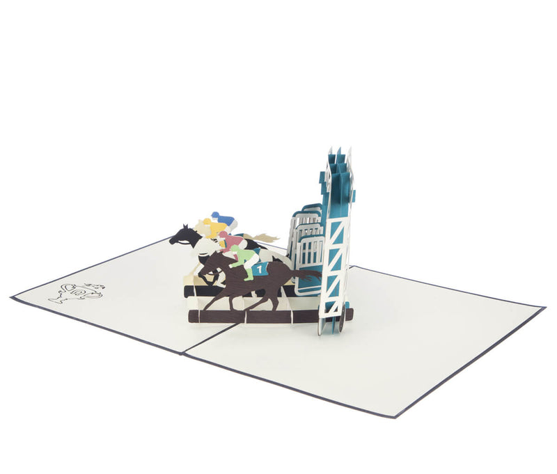 Horse Racing Pop Up Card featuring 4 horses racing out of stalls, fully open at 180 degrees